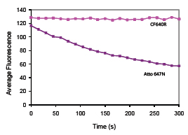 Figure 3. Photostability comparison between CF™640R and ATTO™647N, a far-red dye frequently used in single-molecule imaging. Dye solutions at 0.5 mM in PBS were continuously exposed using a Cy®5 filter set on a mercury arc lamp microscope. Images were captured every 15 seconds, and mean fluorescence intensity of each image was calculated using Image Pro Express software.