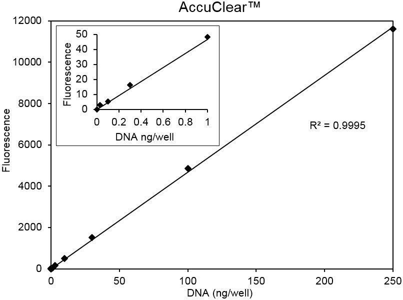 Standard curve of calf thymus DNA assayed using the AccuClear Ultra High Sensitivity Kit