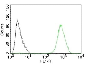 Flow Cytometry of human EGFR on A431 Cells.Black: Cells alone; Grey: Isotype Control;Green: AF488-labeled EGFR Mouse Monoclonal Antibody (GFR450).